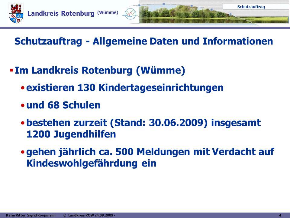 Landkreis Rotenburg (Wümme) Schutzauftrag Karin Ritter, Sigrid Koopmann © Landkreis ROW 24.09.2009 - 4 Schutzauftrag - Allgemeine Daten und Informatio