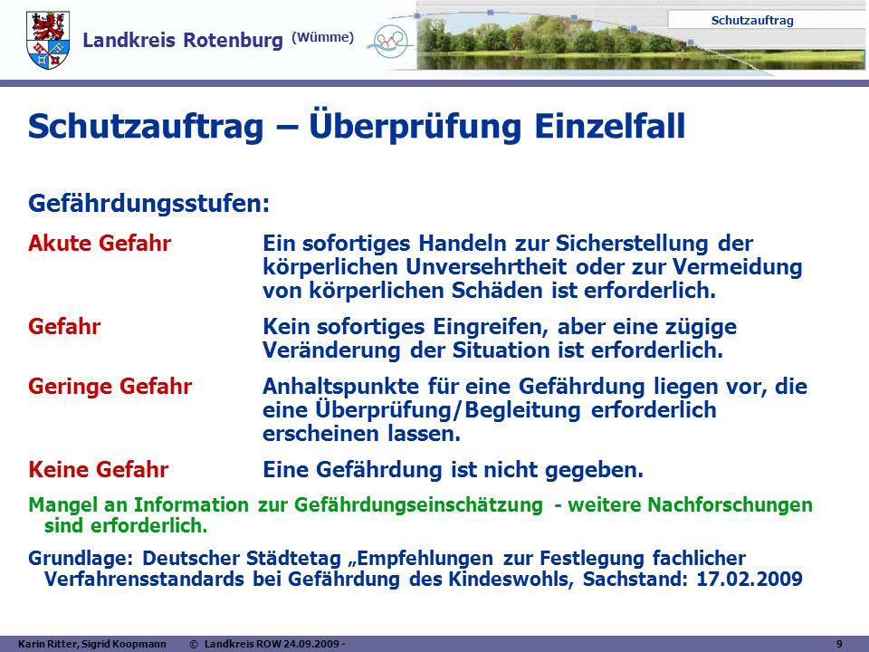 Landkreis Rotenburg (Wümme) Schutzauftrag Karin Ritter, Sigrid Koopmann © Landkreis ROW 24.09.2009 - 9 Schutzauftrag – Überprüfung Einzelfall Gefährdu