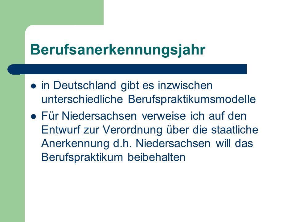 Berufsanerkennungsjahr in Deutschland gibt es inzwischen unterschiedliche Berufspraktikumsmodelle Für Niedersachsen verweise ich auf den Entwurf zur Verordnung über die staatliche Anerkennung d.h.