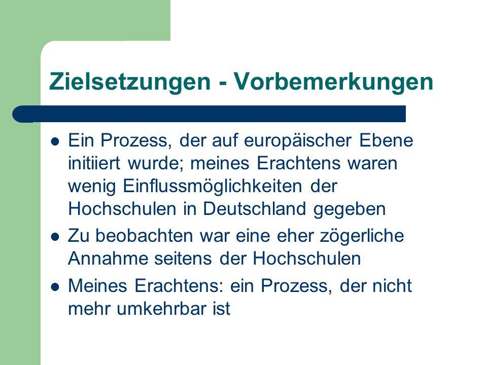 Zielsetzungen - Vorbemerkungen Ein Prozess, der auf europäischer Ebene initiiert wurde; meines Erachtens waren wenig Einflussmöglichkeiten der Hochschulen in Deutschland gegeben Zu beobachten war eine eher zögerliche Annahme seitens der Hochschulen Meines Erachtens: ein Prozess, der nicht mehr umkehrbar ist