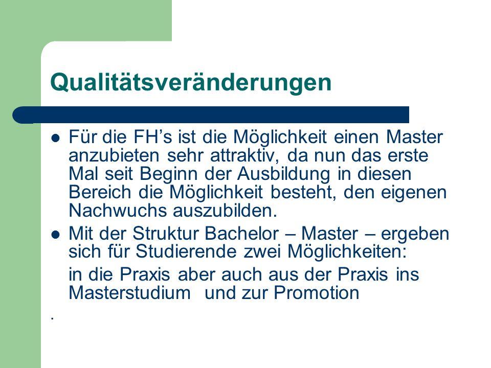 Qualitätsveränderungen Für die FHs ist die Möglichkeit einen Master anzubieten sehr attraktiv, da nun das erste Mal seit Beginn der Ausbildung in diesen Bereich die Möglichkeit besteht, den eigenen Nachwuchs auszubilden.
