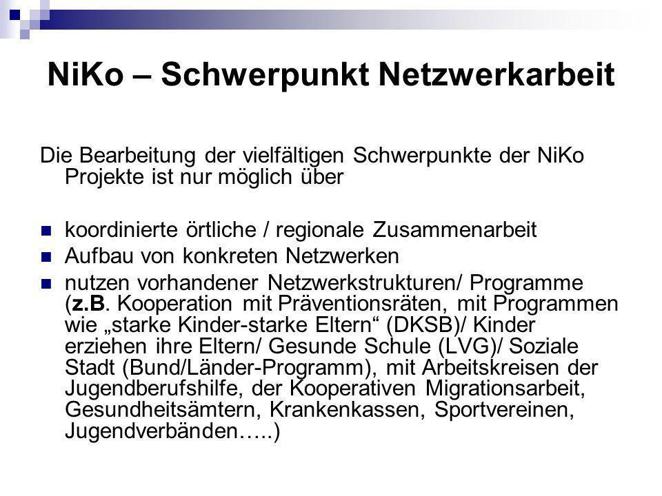 NiKo – Schwerpunkt Netzwerkarbeit Die Bearbeitung der vielfältigen Schwerpunkte der NiKo Projekte ist nur möglich über koordinierte örtliche / regionale Zusammenarbeit Aufbau von konkreten Netzwerken nutzen vorhandener Netzwerkstrukturen/ Programme (z.B.