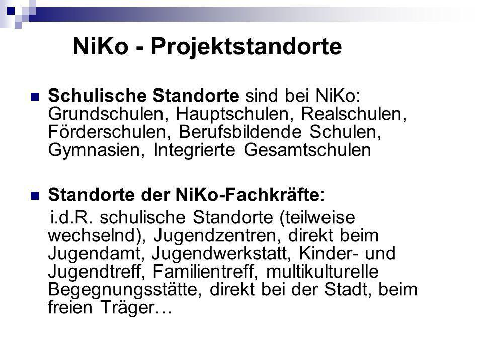 NiKo - Projektstandorte Schulische Standorte sind bei NiKo: Grundschulen, Hauptschulen, Realschulen, Förderschulen, Berufsbildende Schulen, Gymnasien, Integrierte Gesamtschulen Standorte der NiKo-Fachkräfte: i.d.R.