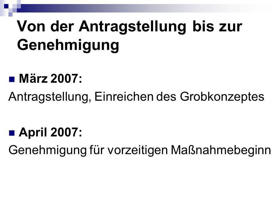 Von der Antragstellung bis zur Genehmigung März 2007: Antragstellung, Einreichen des Grobkonzeptes April 2007: Genehmigung für vorzeitigen Maßnahmebeginn