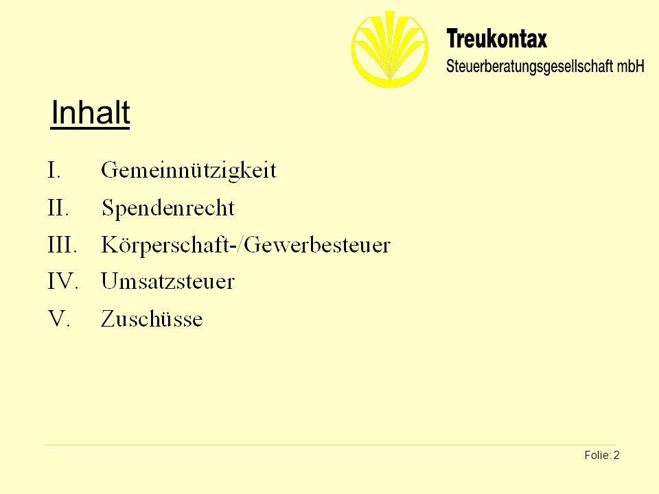 Klaus Wachter - Dipl. Finanzwirt Folie: 2 Inhalt