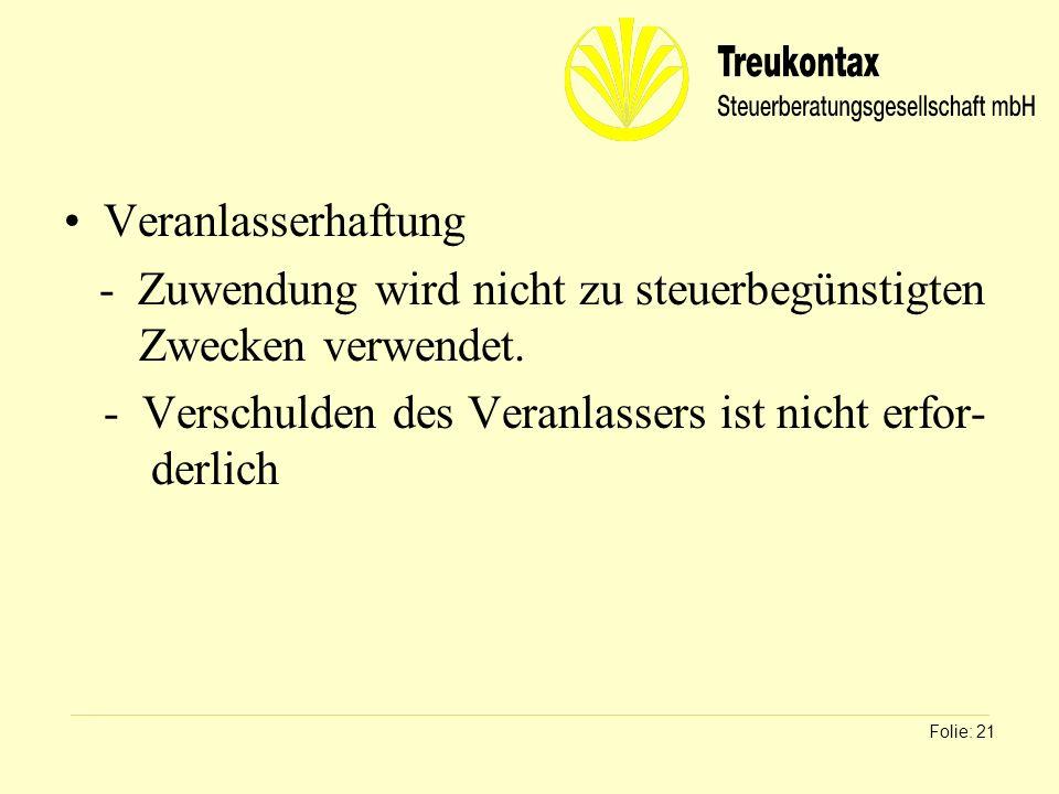 Klaus Wachter - Dipl. Finanzwirt Veranlasserhaftung - Zuwendung wird nicht zu steuerbegünstigten Zwecken verwendet. - Verschulden des Veranlassers ist