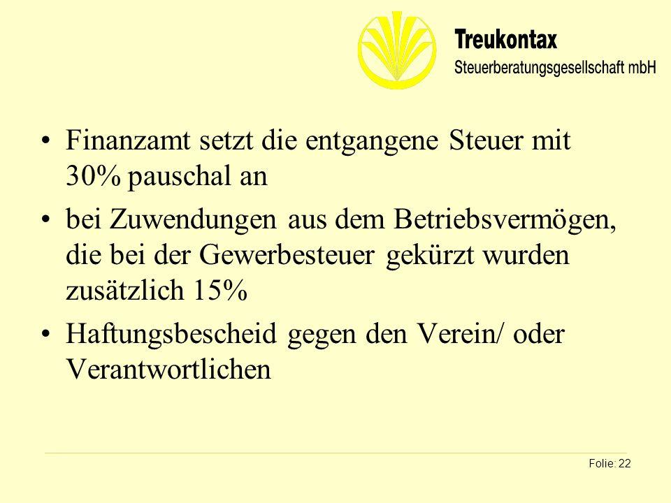 Klaus Wachter - Dipl. Finanzwirt Finanzamt setzt die entgangene Steuer mit 30% pauschal an bei Zuwendungen aus dem Betriebsvermögen, die bei der Gewer