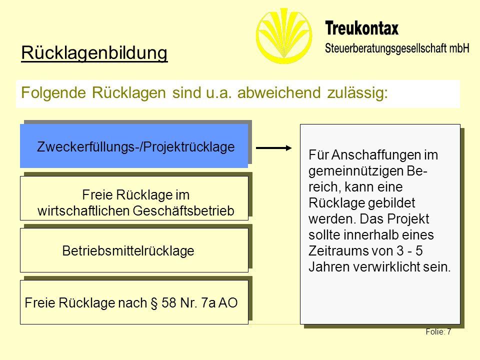 Klaus Wachter - Dipl. Finanzwirt Folie: 7 Folgende Rücklagen sind u.a. abweichend zulässig: Rücklagenbildung Für Anschaffungen im gemeinnützigen Be- r
