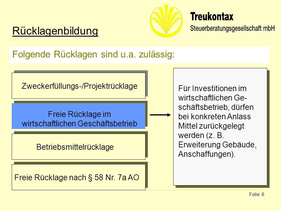 Klaus Wachter - Dipl. Finanzwirt Folie: 8 Folgende Rücklagen sind u.a. zulässig: Rücklagenbildung Für Investitionen im wirtschaftlichen Ge- schäftsbet