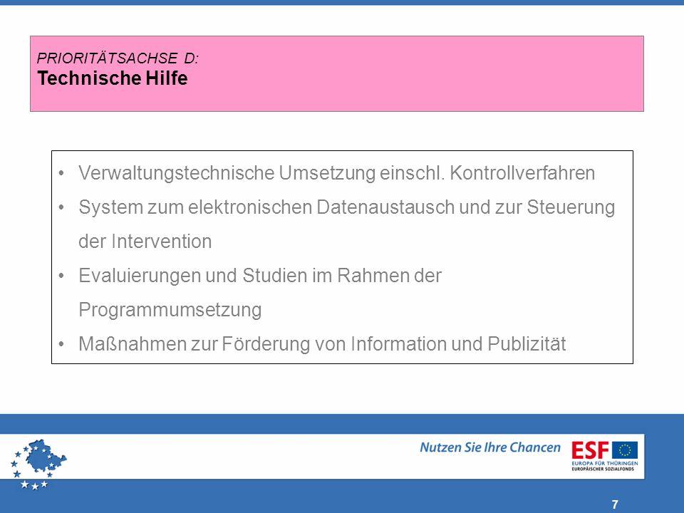 7 Verwaltungstechnische Umsetzung einschl. Kontrollverfahren System zum elektronischen Datenaustausch und zur Steuerung der Intervention Evaluierungen
