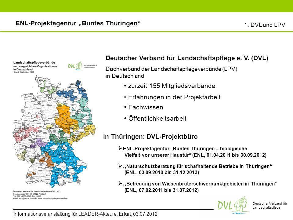Deutscher Verband für Landschaftspflege Deutscher Verband für Landschaftspflege e. V. (DVL) Erfahrungen in der Projektarbeit Fachwissen Öffentlichkeit