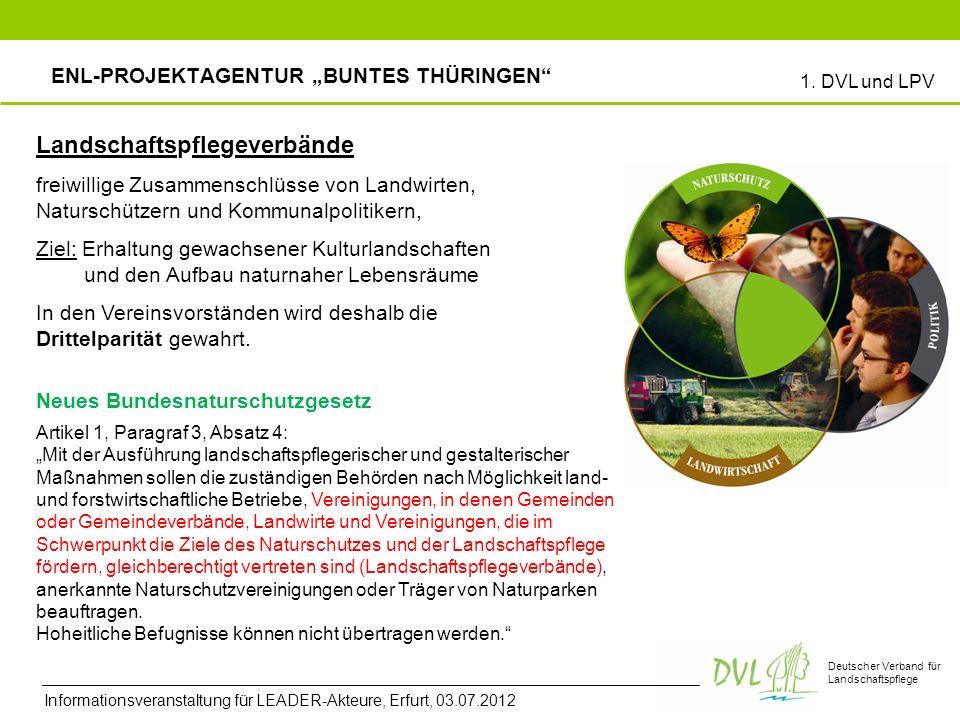 Deutscher Verband für Landschaftspflege Landschaftspflegeverbände freiwillige Zusammenschlüsse von Landwirten, Naturschützern und Kommunalpolitikern, Ziel: Erhaltung gewachsener Kulturlandschaften und den Aufbau naturnaher Lebensräume In den Vereinsvorständen wird deshalb die Drittelparität gewahrt.