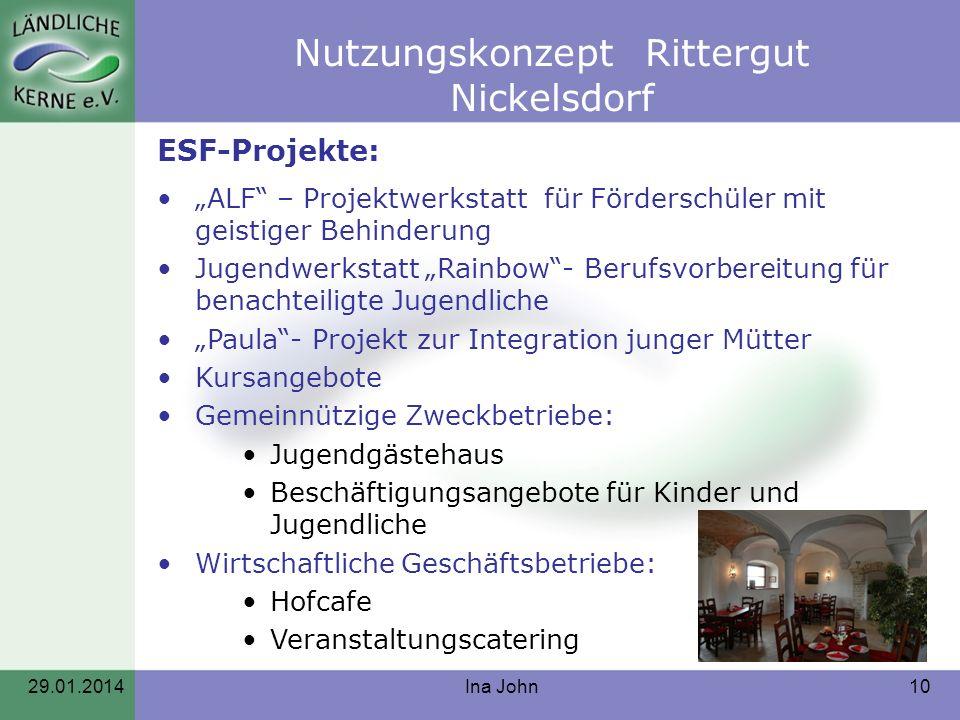 Nutzungskonzept Rittergut Nickelsdorf 29.01.2014Ina John10 ESF-Projekte: ALF – Projektwerkstatt für Förderschüler mit geistiger Behinderung Jugendwerk