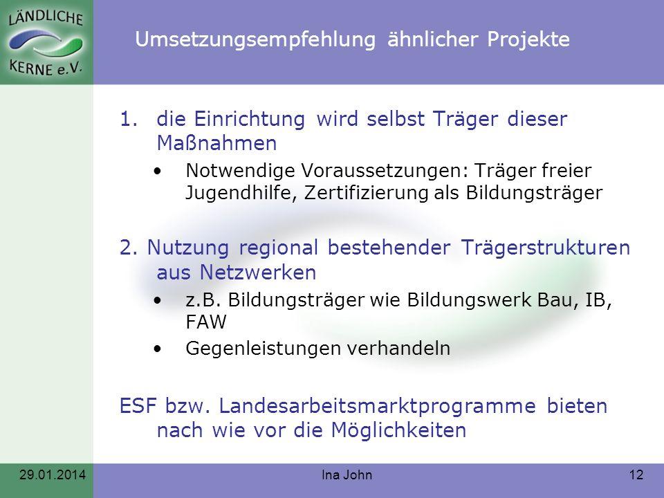 Umsetzungsempfehlung ähnlicher Projekte 1.die Einrichtung wird selbst Träger dieser Maßnahmen Notwendige Voraussetzungen: Träger freier Jugendhilfe, Z