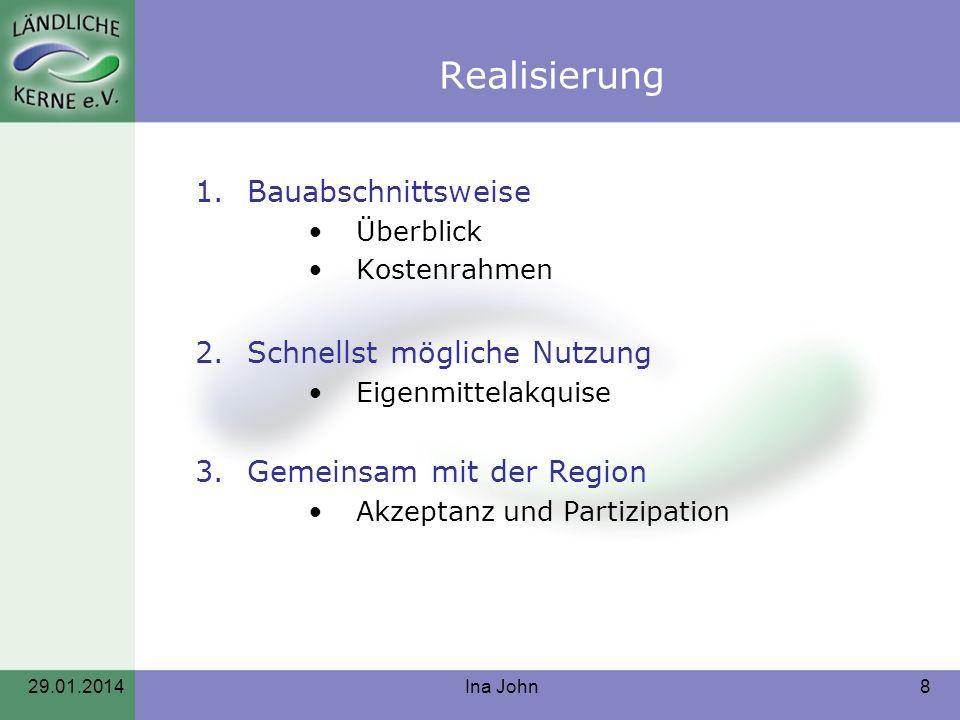 Realisierung 1.Bauabschnittsweise Überblick Kostenrahmen 2.Schnellst mögliche Nutzung Eigenmittelakquise 3.Gemeinsam mit der Region Akzeptanz und Part