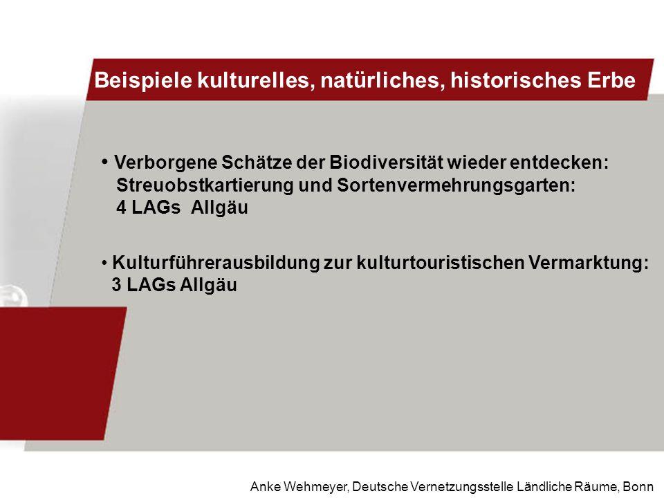 Anke Wehmeyer, Deutsche Vernetzungsstelle Ländliche Räume, Bonn Beispiele kulturelles, natürliches, historisches Erbe Verborgene Schätze der Biodivers