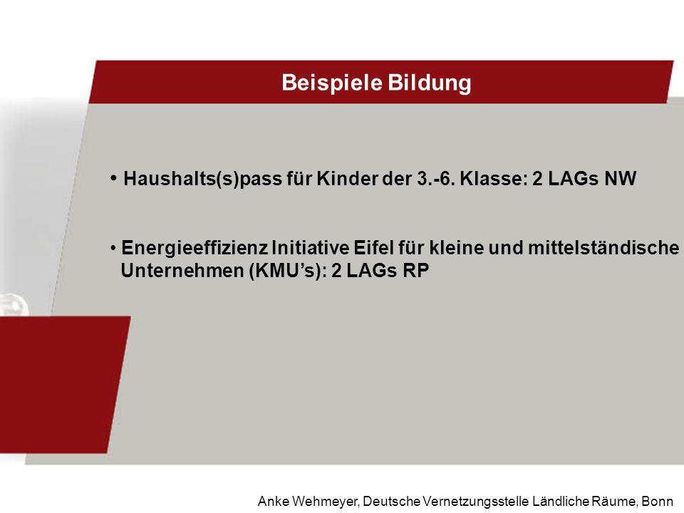 Anke Wehmeyer, Deutsche Vernetzungsstelle Ländliche Räume, Bonn Beispiele Bildung Haushalts(s)pass für Kinder der 3.-6. Klasse: 2 LAGs NW Energieeffiz