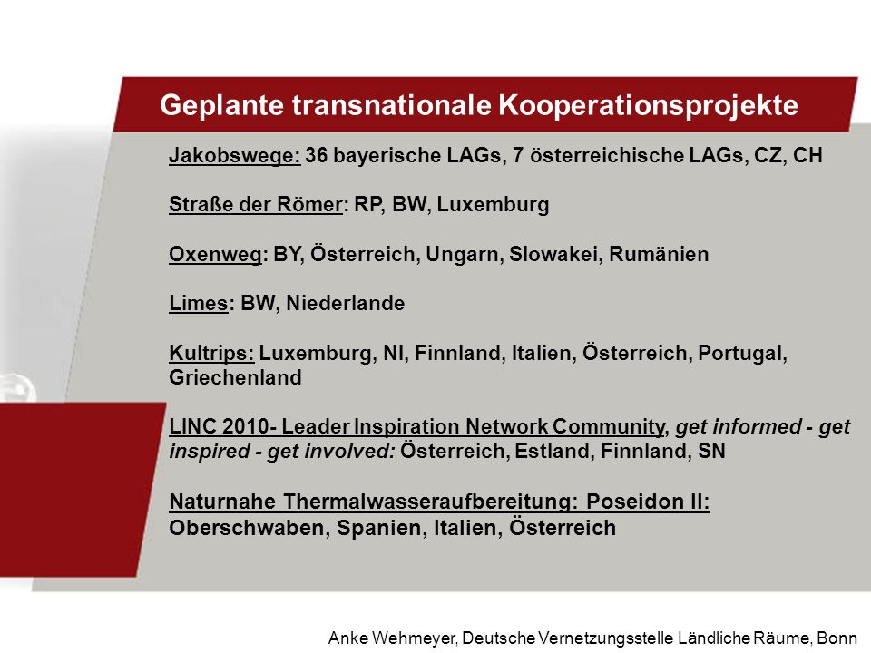 Anke Wehmeyer, Deutsche Vernetzungsstelle Ländliche Räume, Bonn Geplante transnationale Kooperationsprojekte Jakobswege: 36 bayerische LAGs, 7 österre