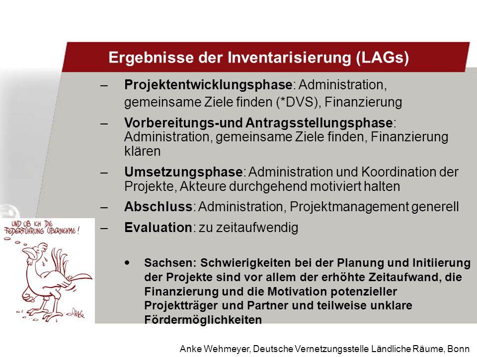 Anke Wehmeyer, Deutsche Vernetzungsstelle Ländliche Räume, Bonn Ergebnisse der Inventarisierung (LAGs) –Projektentwicklungsphase: Administration, geme