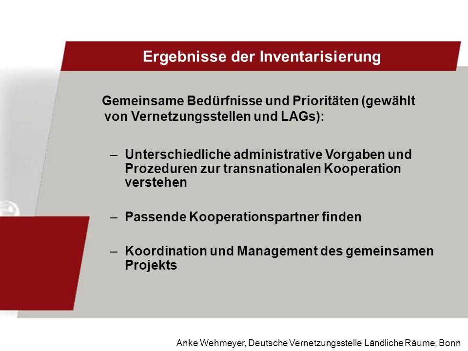 Anke Wehmeyer, Deutsche Vernetzungsstelle Ländliche Räume, Bonn Ergebnisse der Inventarisierung Gemeinsame Bedürfnisse und Prioritäten (gewählt von Ve