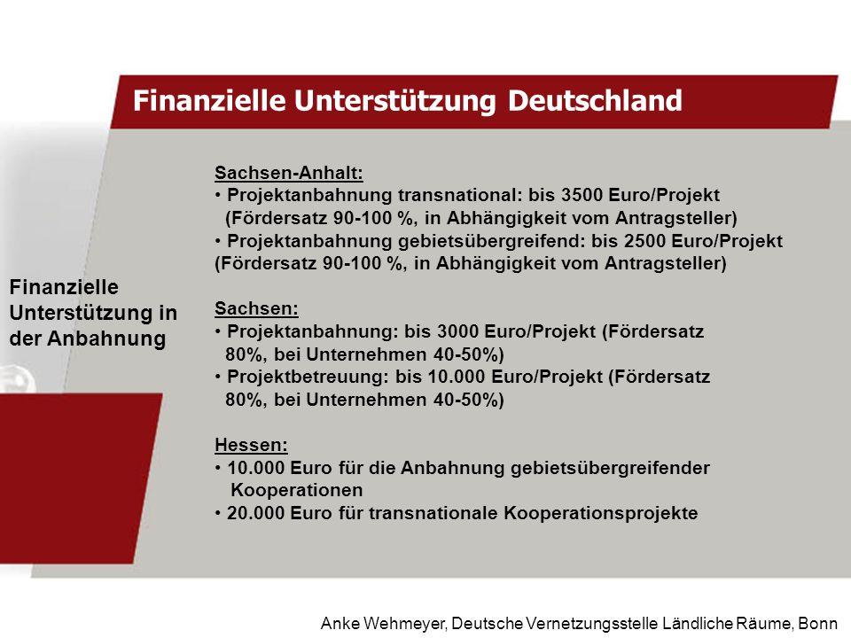 Anke Wehmeyer, Deutsche Vernetzungsstelle Ländliche Räume, Bonn Finanzielle Unterstützung Deutschland Finanzielle Unterstützung in der Anbahnung Sachs