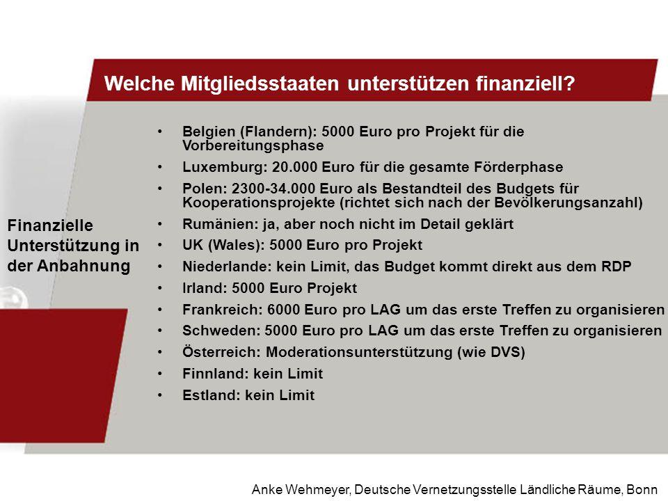 Anke Wehmeyer, Deutsche Vernetzungsstelle Ländliche Räume, Bonn Welche Mitgliedsstaaten unterstützen finanziell? Finanzielle Unterstützung in der Anba