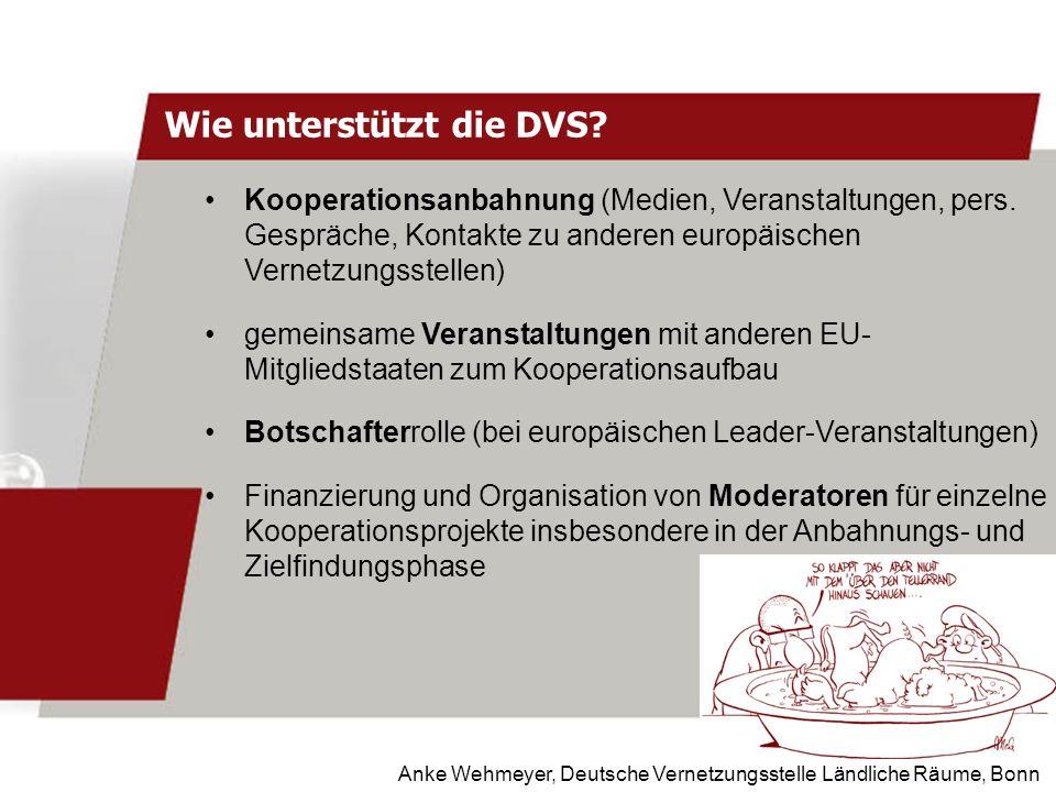 Anke Wehmeyer, Deutsche Vernetzungsstelle Ländliche Räume, Bonn Wie unterstützt die DVS? Kooperationsanbahnung (Medien, Veranstaltungen, pers. Gespräc