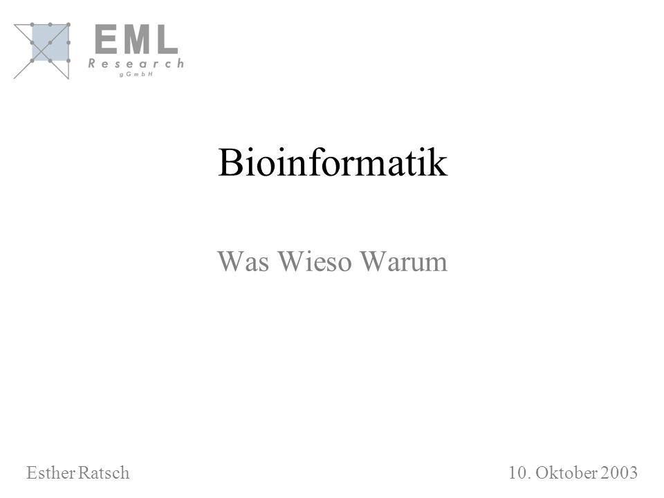 Bioinformatik Was Wieso Warum Esther Ratsch 10. Oktober 2003