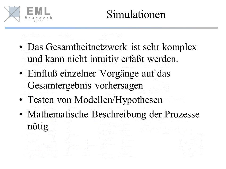 Simulationen Das Gesamtheitnetzwerk ist sehr komplex und kann nicht intuitiv erfaßt werden. Einfluß einzelner Vorgänge auf das Gesamtergebnis vorhersa
