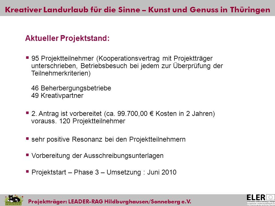 Kreativer Landurlaub für die Sinne – Kunst und Genuss in Thüringen Projektträger: LEADER-RAG Hildburghausen/Sonneberg e.V. Aktueller Projektstand: 95