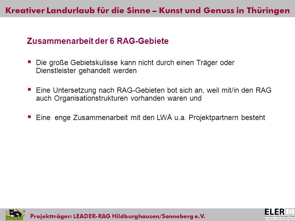Kreativer Landurlaub für die Sinne – Kunst und Genuss in Thüringen Projektträger: LEADER-RAG Hildburghausen/Sonneberg e.V. Zusammenarbeit der 6 RAG-Ge