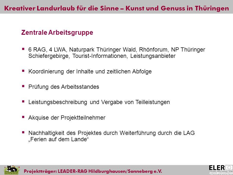 Kreativer Landurlaub für die Sinne – Kunst und Genuss in Thüringen Projektträger: LEADER-RAG Hildburghausen/Sonneberg e.V. Zentrale Arbeitsgruppe 6 RA