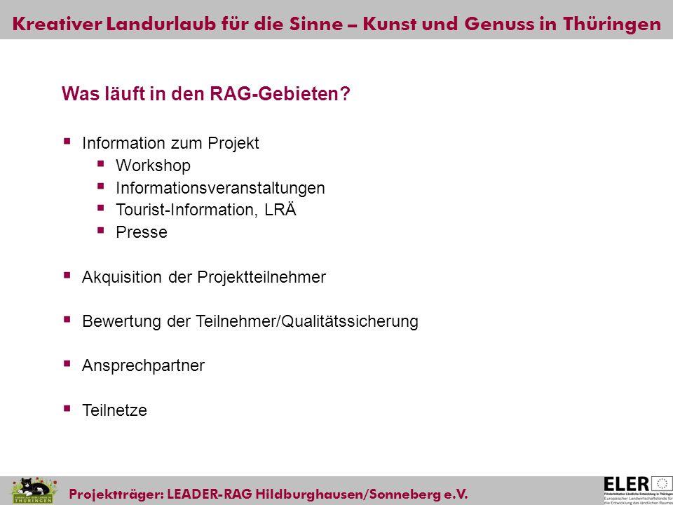 Kreativer Landurlaub für die Sinne – Kunst und Genuss in Thüringen Projektträger: LEADER-RAG Hildburghausen/Sonneberg e.V. Was läuft in den RAG-Gebiet