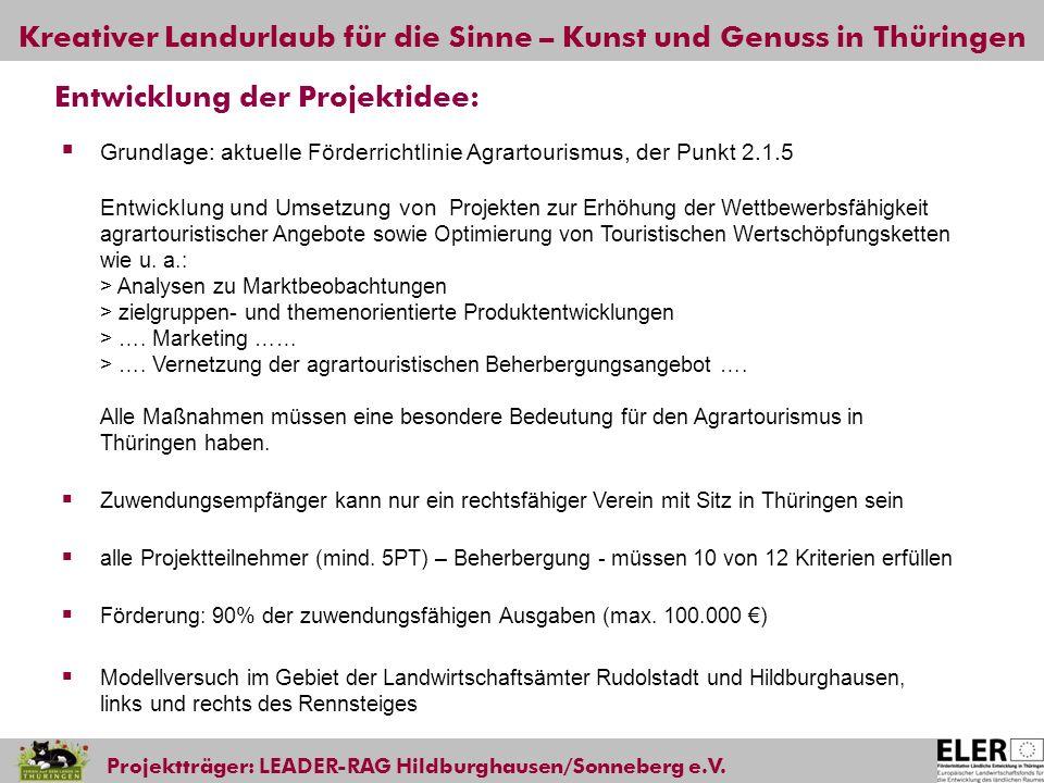 Kreativer Landurlaub für die Sinne – Kunst und Genuss in Thüringen Projektträger: LEADER-RAG Hildburghausen/Sonneberg e.V. Entwicklung der Projektidee
