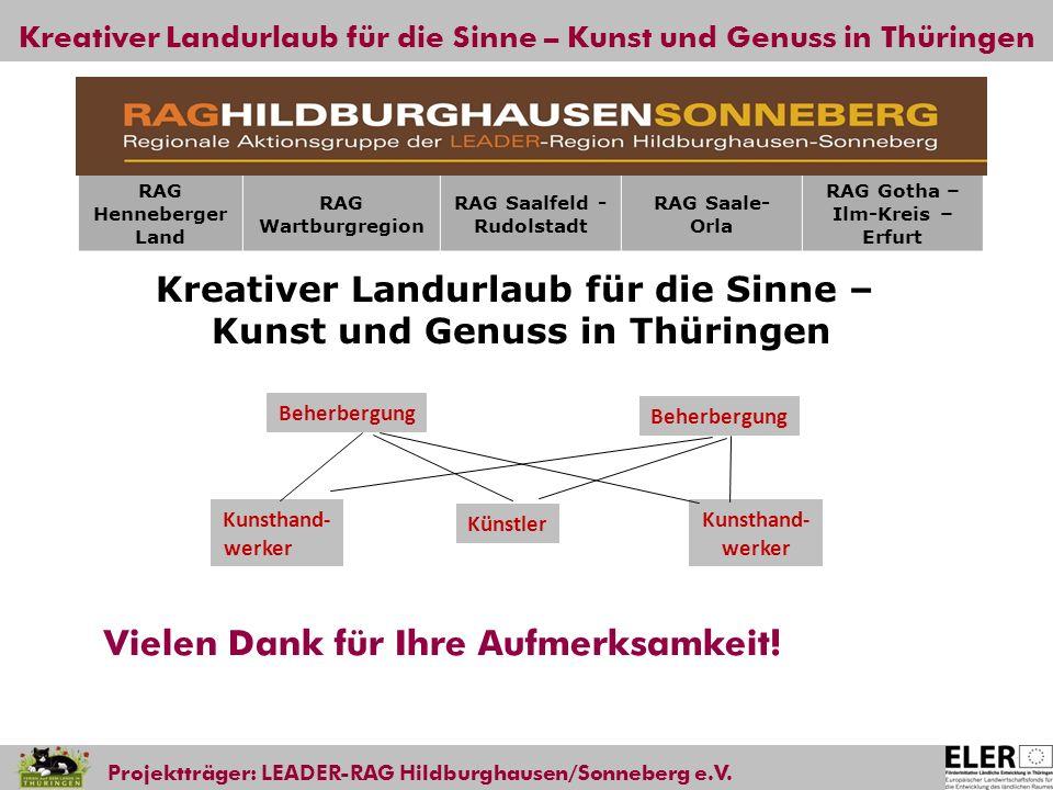 Kreativer Landurlaub für die Sinne – Kunst und Genuss in Thüringen Projektträger: LEADER-RAG Hildburghausen/Sonneberg e.V. Vielen Dank für Ihre Aufmer
