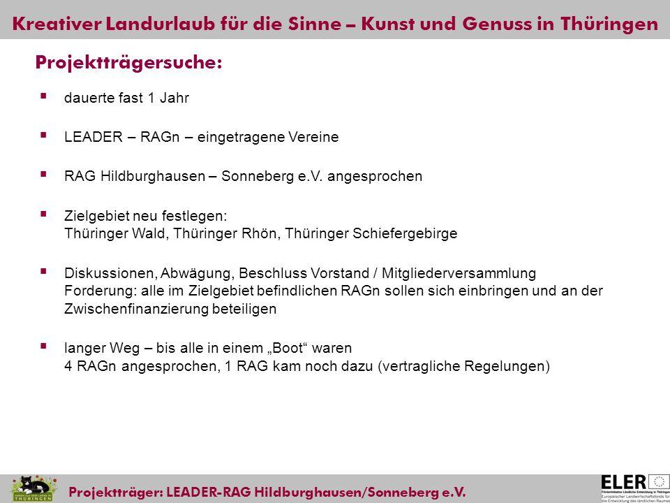 Kreativer Landurlaub für die Sinne – Kunst und Genuss in Thüringen Projektträger: LEADER-RAG Hildburghausen/Sonneberg e.V. Projektträgersuche: dauerte