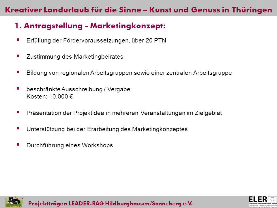 Kreativer Landurlaub für die Sinne – Kunst und Genuss in Thüringen Projektträger: LEADER-RAG Hildburghausen/Sonneberg e.V. 1. Antragstellung - Marketi