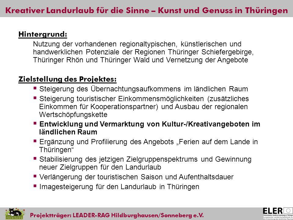 Kreativer Landurlaub für die Sinne – Kunst und Genuss in Thüringen Projektträger: LEADER-RAG Hildburghausen/Sonneberg e.V. Hintergrund: Nutzung der vo