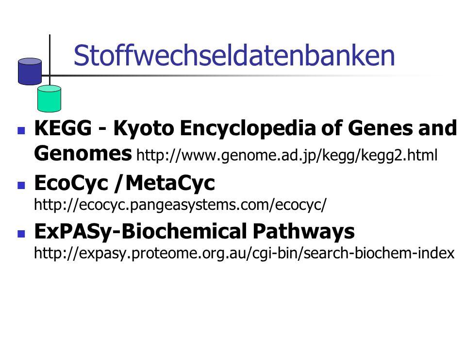 Stoffwechseldatenbanken KEGG - Kyoto Encyclopedia of Genes and Genomes http://www.genome.ad.jp/kegg/kegg2.html EcoCyc /MetaCyc http://ecocyc.pangeasys