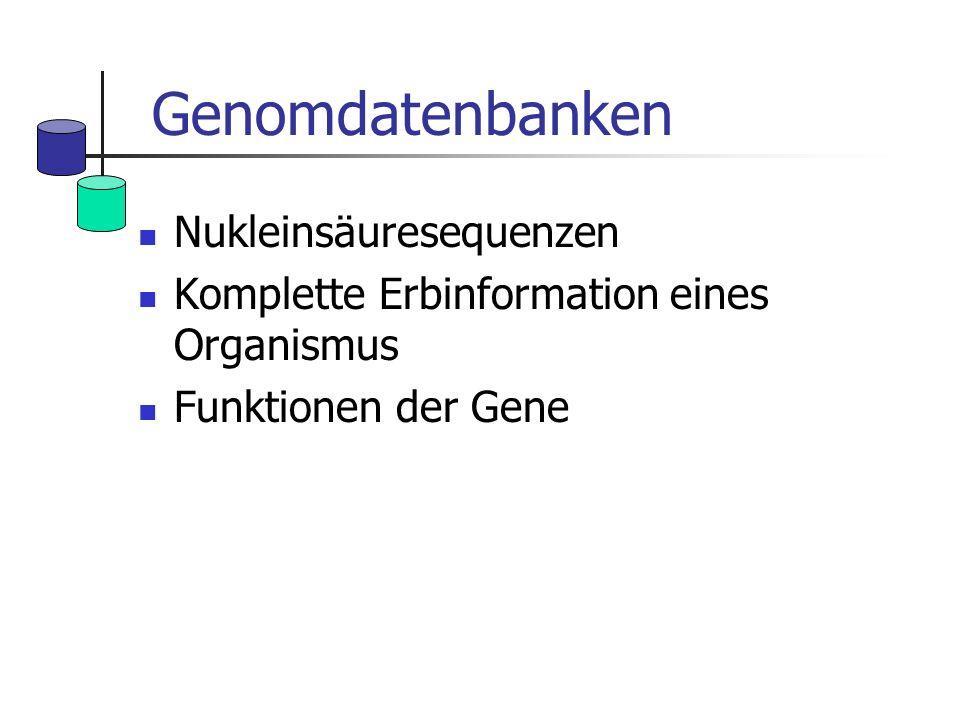 Genomdatenbanken Nukleinsäuresequenzen Komplette Erbinformation eines Organismus Funktionen der Gene