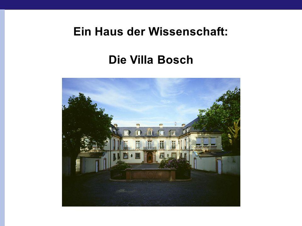 ab 1921 gebaut für Carl Bosch, BASF-Vorstand 1931: Carl Bosch - Nobelpreis für Chemie ab 1967: SDR Wissenschaftsredaktion 1994: Klaus Tschira erwirbt die Villa Bosch.