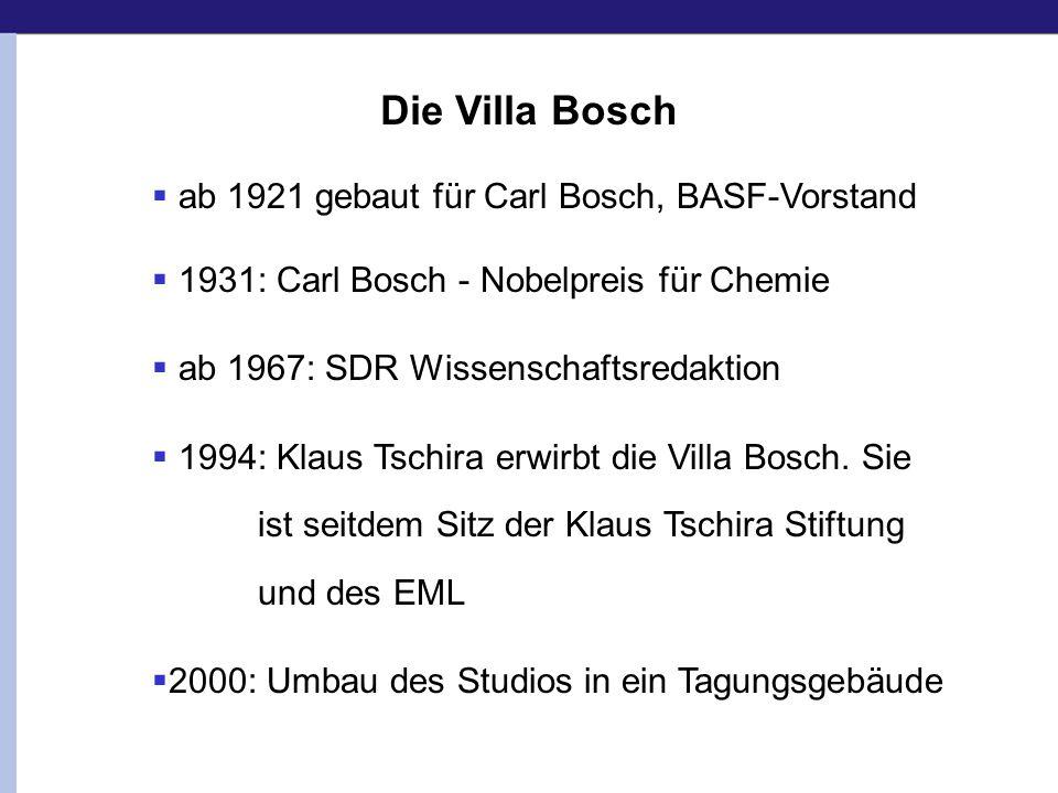 ab 1921 gebaut für Carl Bosch, BASF-Vorstand 1931: Carl Bosch - Nobelpreis für Chemie ab 1967: SDR Wissenschaftsredaktion 1994: Klaus Tschira erwirbt