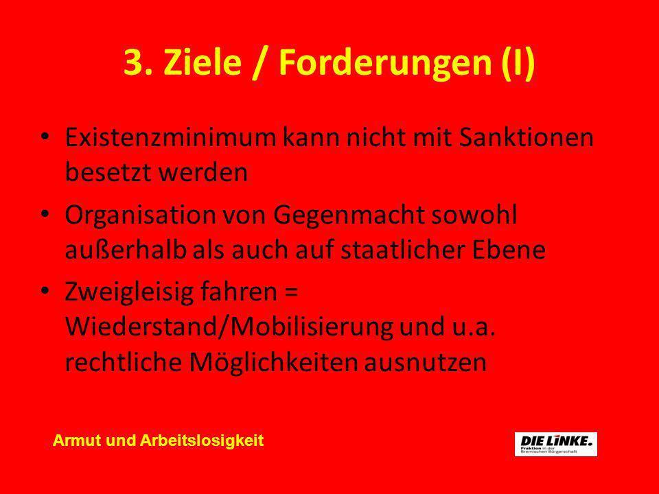 3. Ziele / Forderungen (I) Existenzminimum kann nicht mit Sanktionen besetzt werden Organisation von Gegenmacht sowohl außerhalb als auch auf staatlic