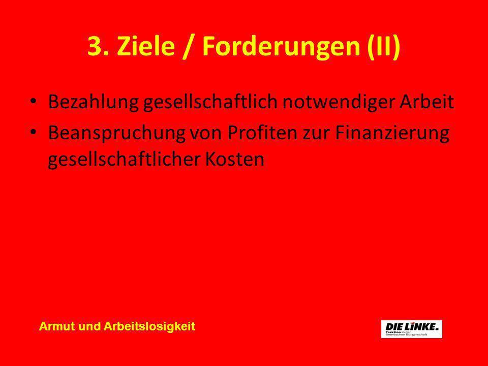 3. Ziele / Forderungen (II) Bezahlung gesellschaftlich notwendiger Arbeit Beanspruchung von Profiten zur Finanzierung gesellschaftlicher Kosten Armut