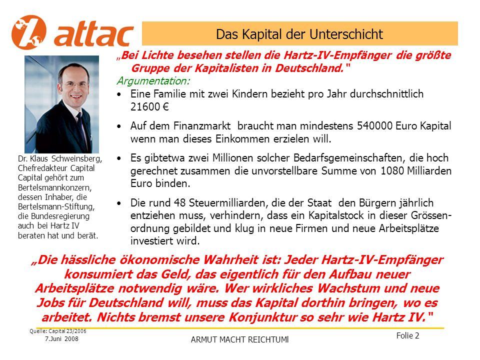 7.Juni 2008 ARMUT MACHT REICHTUMl Folie 3 Reichtum Einkommen aus abhängiger Beschäftigung Unternehmensgewinn Kapital Konsum Ersparnis Ersparnis Jahr 3 Ersparnis Jahr 2 Ersparnis Jahr 1 Vermögen Daten zum Vermögen in Deutschland sind Tabu-Thema Erbschaften/Wertzuwächse