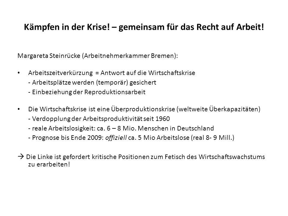 Kämpfen in der Krise! – gemeinsam für das Recht auf Arbeit! Margareta Steinrücke (Arbeitnehmerkammer Bremen): Arbeitszeitverkürzung = Antwort auf die