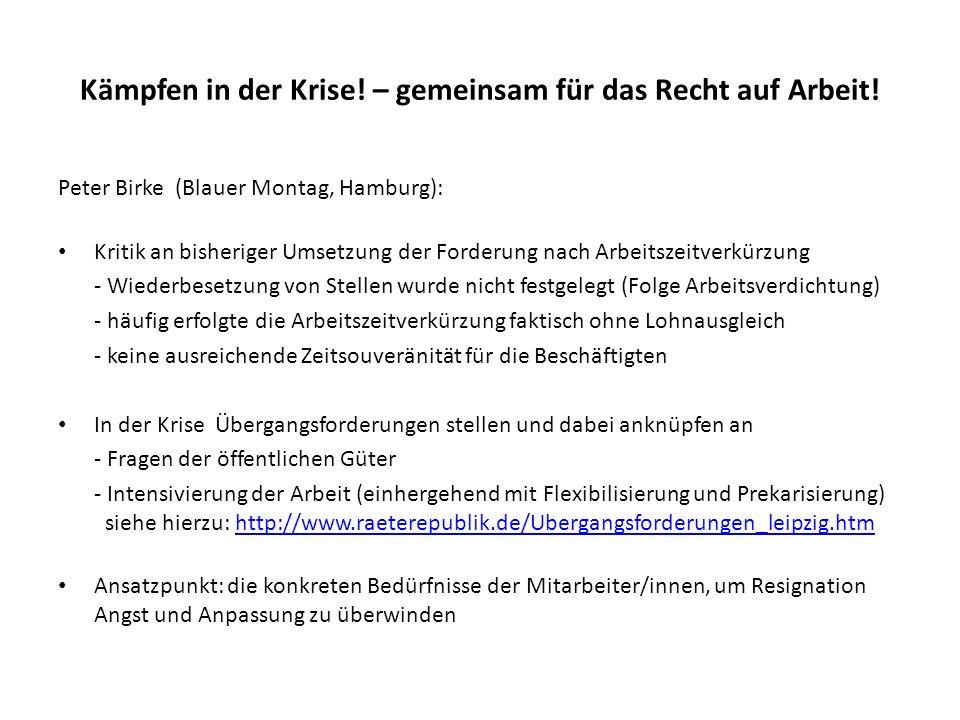 Kämpfen in der Krise! – gemeinsam für das Recht auf Arbeit! Peter Birke (Blauer Montag, Hamburg): Kritik an bisheriger Umsetzung der Forderung nach Ar
