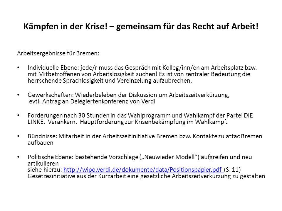 Kämpfen in der Krise! – gemeinsam für das Recht auf Arbeit! Arbeitsergebnisse für Bremen: Individuelle Ebene: jede/r muss das Gespräch mit Kolleg/inn/