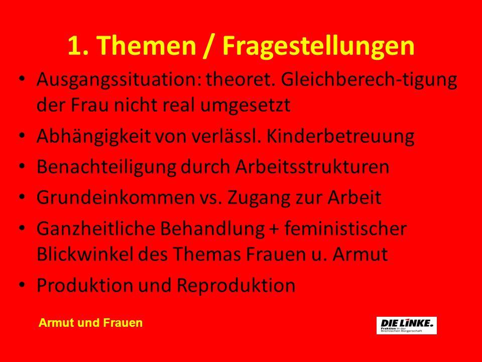 1. Themen / Fragestellungen Ausgangssituation: theoret. Gleichberech-tigung der Frau nicht real umgesetzt Abhängigkeit von verlässl. Kinderbetreuung B
