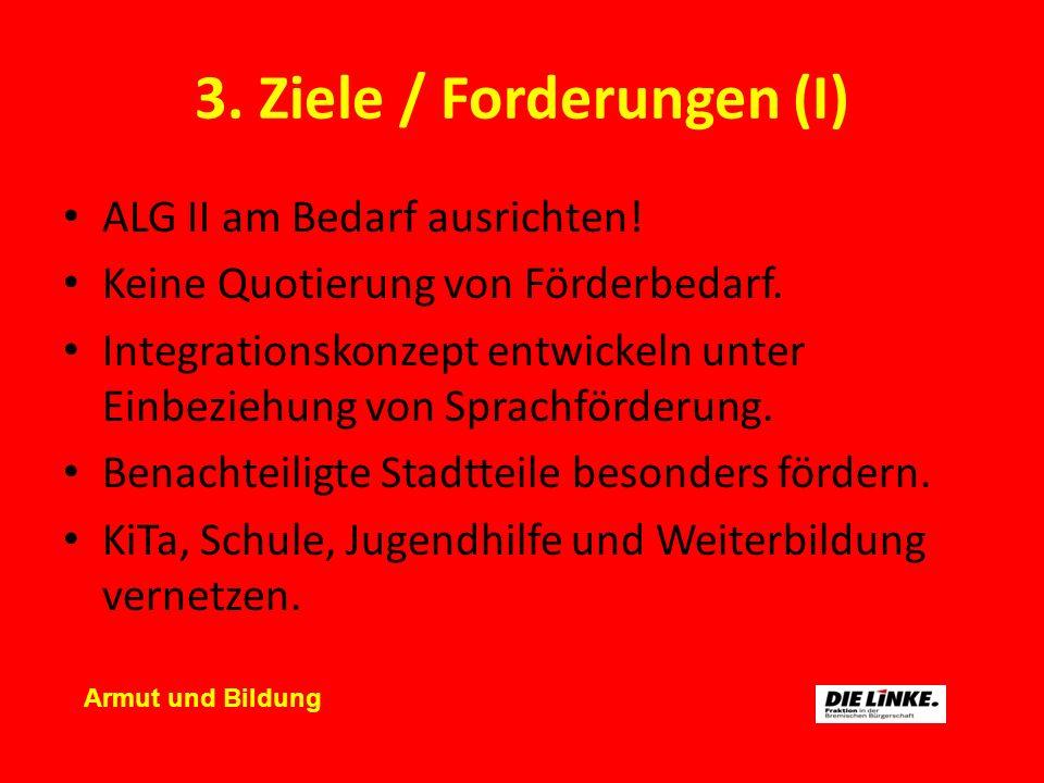 3. Ziele / Forderungen (I) ALG II am Bedarf ausrichten! Keine Quotierung von Förderbedarf. Integrationskonzept entwickeln unter Einbeziehung von Sprac